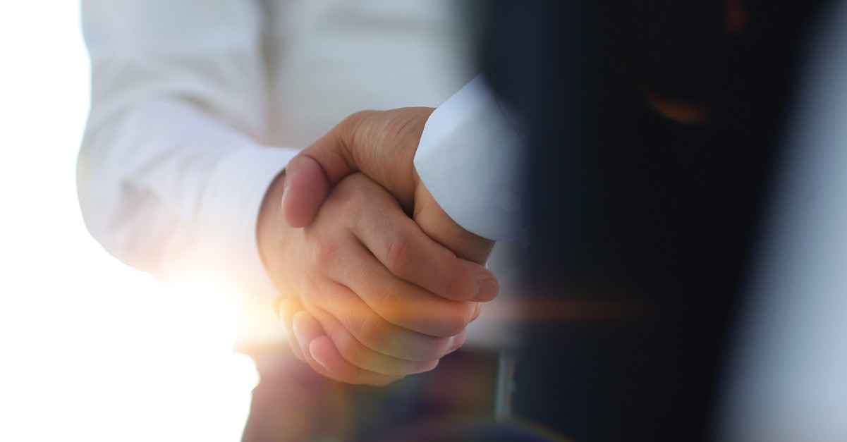 Business handshake and business people. Business concept. Software partners