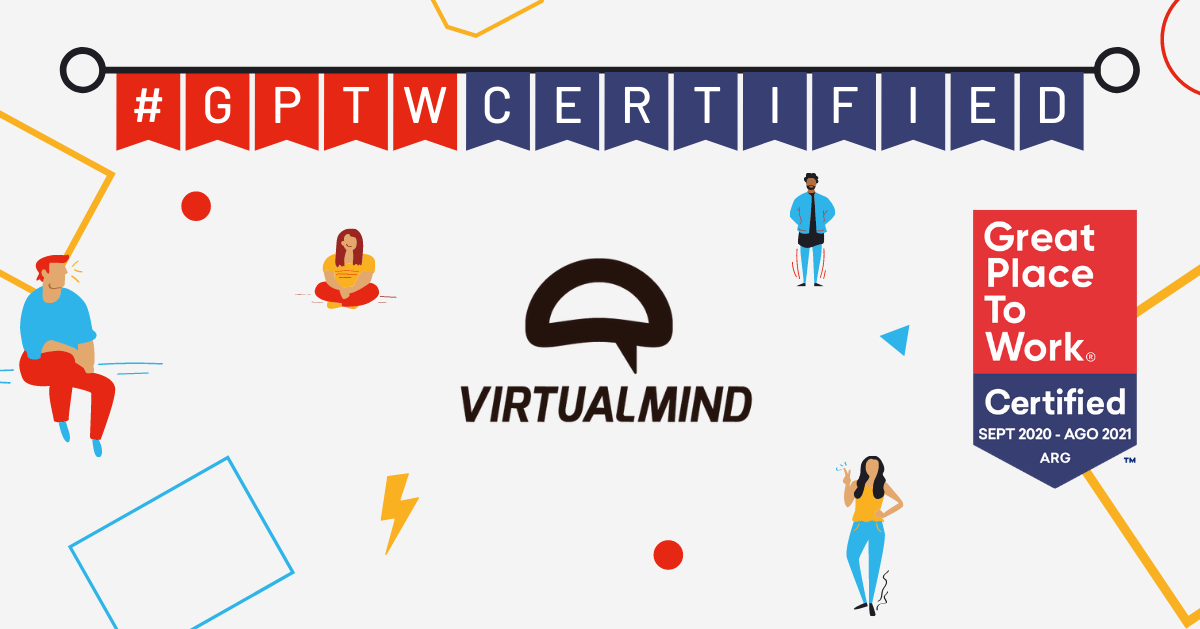 Virtualmind and Great Place To Work logos integrated in an image with men and women in different postures